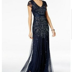 Adrianna Papell Sequin Navy Marine Ball Gown 10